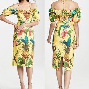 NWT Farm Rio Golden Jungle MIdi Ruffle Dress XS